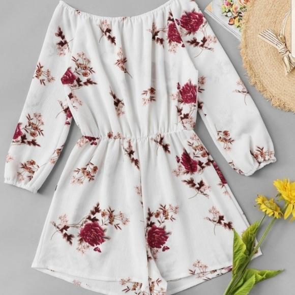 ROMWE Pants - White 3 Quarter Length sleeve Floral Romper Small